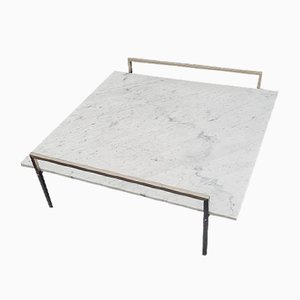 Marble Coffee Table on Rectangular Metal Base, 1960s