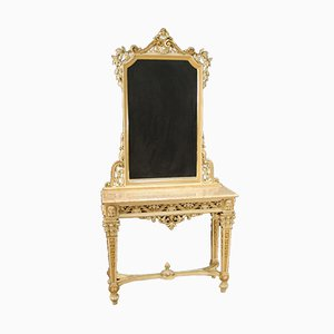 Italian Lacquered and Gilded Console with Mirror in the Louis XVI Style