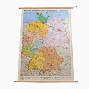 Vintage German School Educational Wall Map