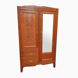 Mid-Century Parisian Golden Oak Wardrobe, 1950s