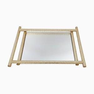 Italian Gilded Tray with Mirror, 1970s