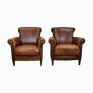Vintage Dutch Cognac Leather Club Chairs, Set of 2