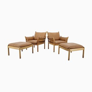 Danish Genius Leather & Rosewood Chairs with Stools by Illum Wikkelsø, 1960s, Set of 4