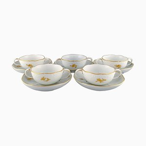 Meissen Bouillon Cups with Saucers in Porcelain with Flowers and Foliage, Set of 10