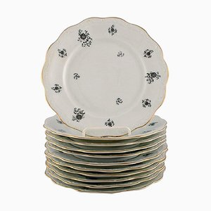 Rubens Lunch Plates in Porcelain with Floral Motifs from KPM, Berlin, 1940s, Set of 11