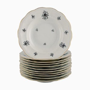 Rubens Deep Plates in Porcelain with Floral Motifs from KPM, Berlin, 1940s, Set of 11