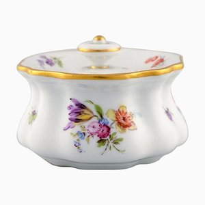 19th Century Meissen Inkwell in Hand-Painted Porcelain with Floral Motifs