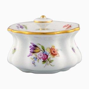Meissen Tintenfass aus handbemaltem Porzellan mit floralen Motiven, 19. Jh