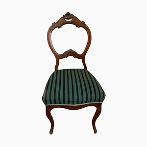 Antique Solid Wood Chair with Striped Pattern
