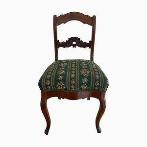 Antique Solid Wood Chairs with Floral Pattern, Set of 2