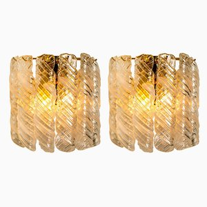 Brass & White Spiral Murano Glass Torciglione Wall Lights from Mazzega, 1960s, Set of 2