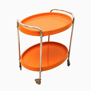 Bar Trolley with Casters and Plastic Trays