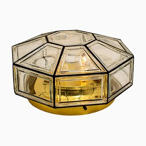 Large Clear Glass Flush Mount or Wall Light from Glashütte Limburg, 1960s