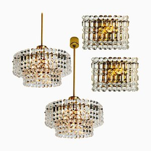 Gold-Plated Crystal Glass Light Fixtures from Kinkeldey, 1970s, Set of 2
