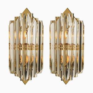 Applique in vetro di Murano e ottone dorato nello stile di Venini, Italia, anni '70, set di 2