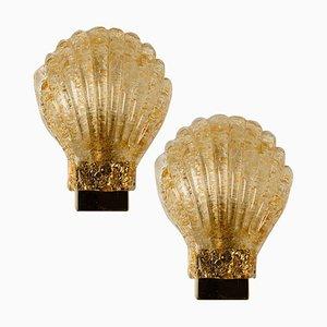Italian Murano Glass & Brass Seashell Sconces, Italy, 1960s, Set of 2