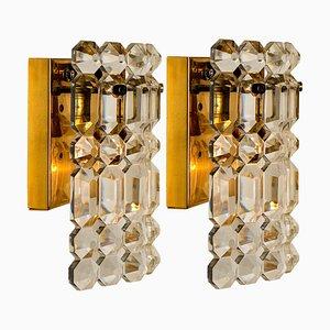 Gilt Brass, Metal & Crystal Glass Sconces Wall Lights from Kinkeldey, 1960s, Set of 2