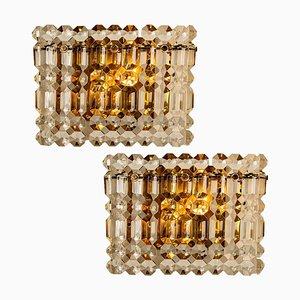 Wandlampen aus vergoldetem Messing, Metall & Kristallglas von Kinkeldey, 1960er, 2er Set