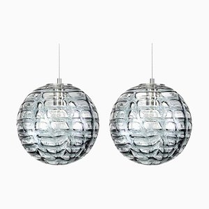 Grey Murano Glass Pendant Lamps in the Style of Venini, 1960s, Set of 2
