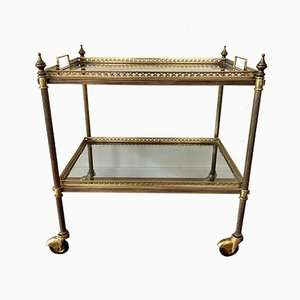 French Neoclassical Style Brass Bar Cart with Removable Trays, 1960s
