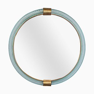 Hand Blown Pale Blue Glass Ritorto Mirror by Archimede Seguso for Seguso, 1960s