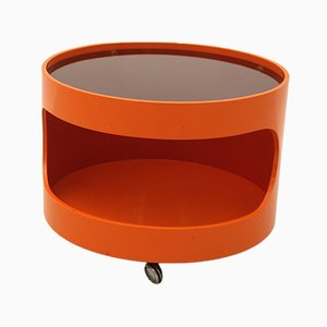 Orange Coffee Table on Wheels from Opal Möbel, 1960s