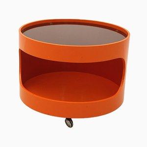 Orangener Couchtisch auf Rädern von Opal Möbel, 1970er