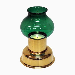Vintage Norwegian Brass Candleholder with Green Glass Shade from Odel Messing, 1960s