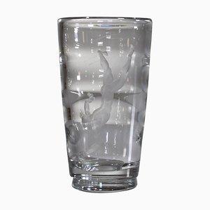 Swedish Art Deco Glass Pearlfisher Vase by Vicke Lindstrand for Orrefors, 1937