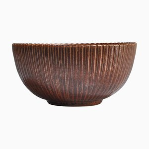 Large Stoneware Bowl with Oxblood Glaze by Arne Bang, 1930s