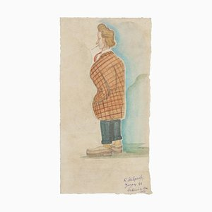 Portrait of Zazon - Original Watercolor Drawing - Late 20th Century Late 20th Century