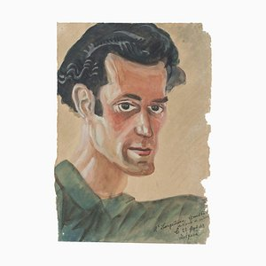 Portrait - Original Watercolor Drawing - Late 20th Century Late 20th Century
