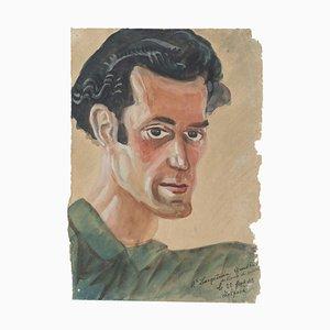 Retrato - Dibujo acuarela original - Finales del siglo XX Finales del siglo XX