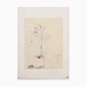 Nude - Original China Ink Drawing - 1958 1958