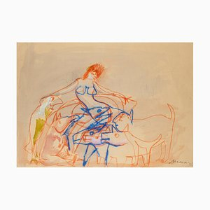 Nude with Dogs - Original Mixed Media r by M. Maccari - 1950s 1950s