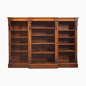 Large Antique Walnut Dwarf Open Bookcase