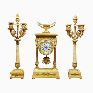 19th Century French Gilt Brass and Siena Marble Clock Set, Set of 3