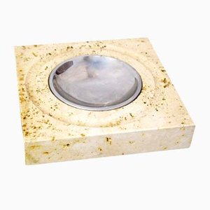 Italian Natural Travertine Marble Ashtray, 1960s