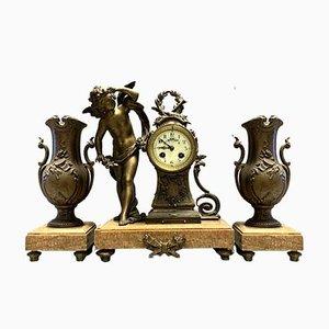 Napoleon III Cherub Decorated Clock Set, 1860s, Set of 3