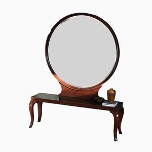 Large Art Deco Console with Mirror in Mahogany, 1940s