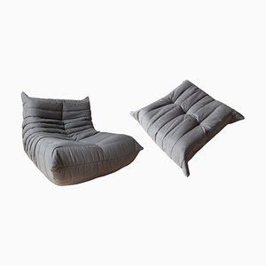 Vintage Grey Microfiber Togo Lounge Chair & Ottoman Set by Michel Ducaroy for Ligne Roset, 1973, Set of 2