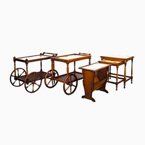 Vintage Rustic Bar Carts, Newspaper Rack, Coffee Table Set from Grünstadt Keramik, 1950s, Set of 5
