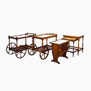 Vintage rustikale Barwagen, Zeitungsständer, Couchtisch Set von Grünstadt Keramik, 1950er, 5er Set