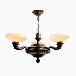 Art Nouveau 3-Flame Ceiling Lamp, 1920s