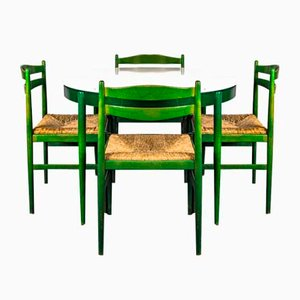 Vintage Dining Table & Chairs in the Style of Lübke, 1960s, Set of 5
