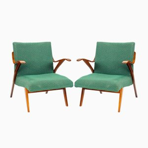 Bentwood Armchair in Green Fabric from Mier, Czechoslovakia, 1964
