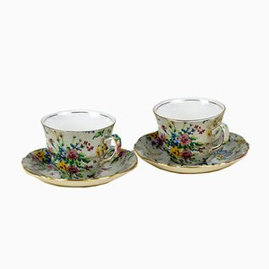 English Anne Needlepoint Pattern Tea Cups by Leonard Lumsden Grimwades for Royal Winton, 1930s, Set of 2