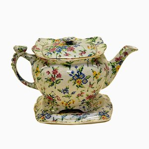 English Queen Anne Needlepoint Pattern Teapot by Lumsden Grimwades for Royal Winton, 1936