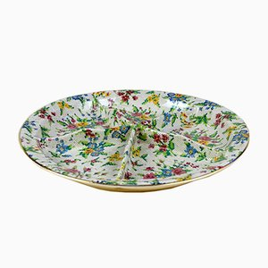 English Queen Anne Needlepoint Pattern Relish Dish by Leonard Lumsden Grimwades for Royal Winton, 1936