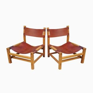 Elm and Leather Fireside Lounge Chairs from Maison Regain, 1960s, Set of 2